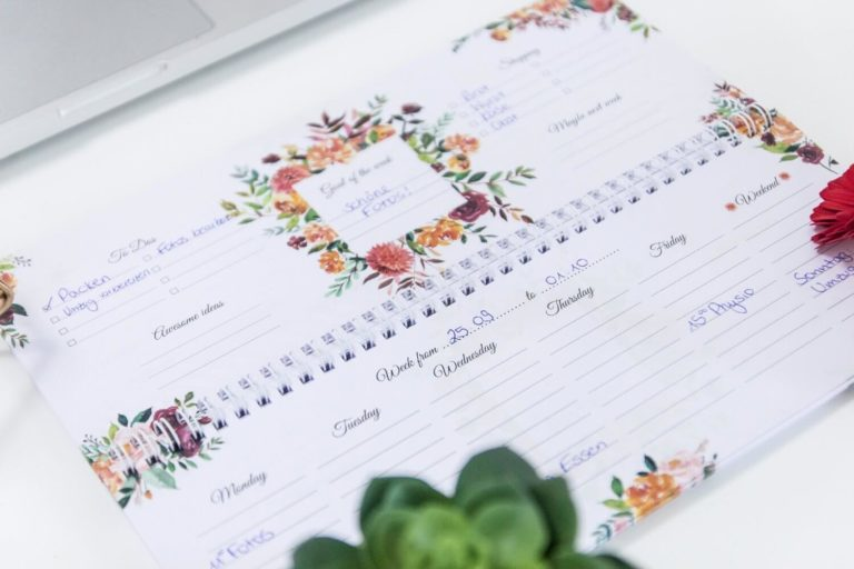 wochenkalender flower blumen weekly planer without date